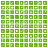 100 space technology icons set grunge green. 100 space technology icons set in grunge style green color isolated on white background vector illustration Stock Photo
