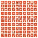 100 space technology icons set grunge orange. 100 space technology icons set in grunge style orange color isolated on white background vector illustration Royalty Free Stock Photos
