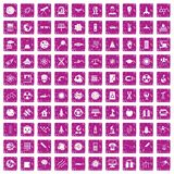 100 space technology icons set grunge pink. 100 space technology icons set in grunge style pink color isolated on white background vector illustration Royalty Free Stock Photography