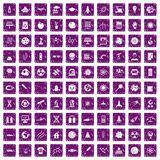 100 space technology icons set grunge purple. 100 space technology icons set in grunge style purple color isolated on white background vector illustration Stock Photos