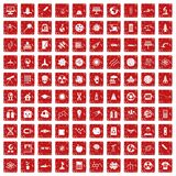 100 space technology icons set grunge red. 100 space technology icons set in grunge style red color isolated on white background vector illustration Royalty Free Stock Photography
