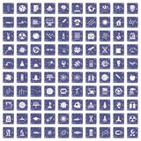 100 space technology icons set grunge sapphire. 100 space technology icons set in grunge style sapphire color isolated on white background vector illustration Royalty Free Stock Photography
