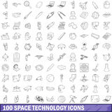 100 space technology icons set, outline style. 100 space technology icons set in outline style for any design vector illustration Royalty Free Stock Photo