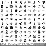 100 space technology icons set, simple style Stock Images