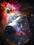 Space Telescope. A space telescope at the foreground of a great colored nebula Stock Images