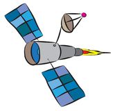 Space telescope satellite with antenna flying frew the cosmos.  royalty free illustration