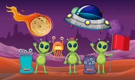 Space theme with aliens and UFO on planet Royalty Free Stock Photography