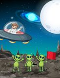 Space theme with astronaut and three aliens. Illustration Royalty Free Stock Image