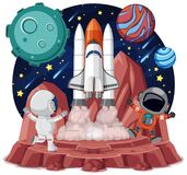 Space theme with astronauts and spaceship isolated on white backgroud