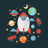 Space theme banners and cards Royalty Free Stock Images