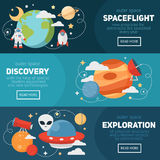 Space theme banners and cards Royalty Free Stock Photos