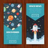 Space theme banners and cards Stock Images
