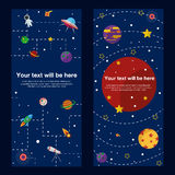 Space theme banners and cards with flat astronomic. Symbols of planets, rocket, telescope for design, invitations and advertisement Royalty Free Stock Photography