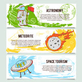 Space theme banners  with flat astronomic symbols of planets, rocket, stars, telescope. Royalty Free Stock Photography