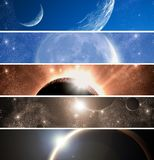 Space theme banners set Royalty Free Stock Photos