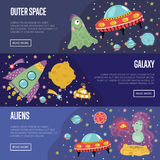 Space Theme Cartoon Banners Collection vector illustration