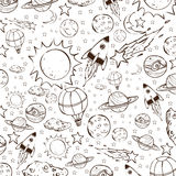 Space Theme Doodle, Black on White Royalty Free Stock Photo