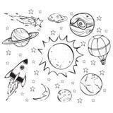 Space Theme Doodle, Black on White Royalty Free Stock Photos