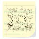 Space Theme Doodle, on Lined Note Paper Stock Images