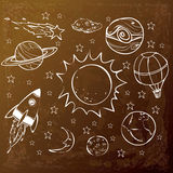 Space Theme Doodle, White on Grunge Brown. Space theme doodle, cartoon style, simple outline hand drawing stock illustration