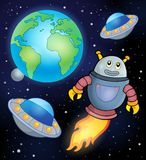 Space theme with flying robot Stock Image