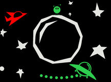 Space Theme. Out space themed illustration, with rocky planet, stars, a little green alien, red spaceship, and green flying saucer Stock Photography
