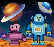 Space theme with robots 2 Stock Photo