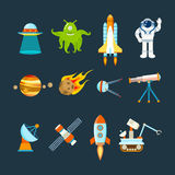 Space theme, transport, planets, objects, satellites, instruments for tracking cosmos. Cosmos set concept. Set on a space theme, including a transport, planets Stock Photos