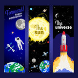 Space theme vertical flyers Royalty Free Stock Photo
