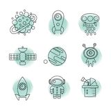 Space thin line icons set. Stock Photography