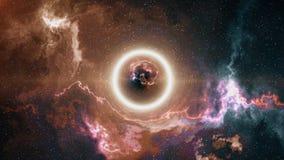 Space-time η κυρτότητα, πέταξε μέχρι τη μαύρη τρύπα, ορίζοντας γεγονότος απεικόνιση αποθεμάτων