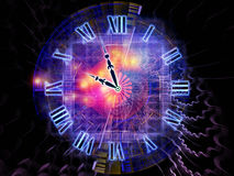 Space of time. Background design of clock hands, gears, lights and abstract design elements on the subject of time sensitive issues, deadlines, scheduling Royalty Free Stock Image