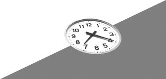 Space and time. Abstract illustration. Large analog clock, being half in shade of space Stock Images