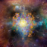 Space time atomic. Star filled space with clock and atomic particles Stock Image