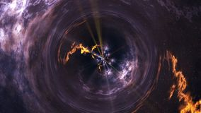 Space-time curvature, flight into a black hole, space abstract composition stock illustration