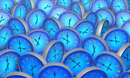 Space and time. Many blue circular clock. 3D illustration. Royalty Free Stock Photo