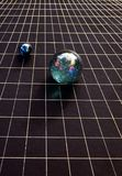 Space time and spheres. Cosmic orbs depict consepts of quantum physics and string theory Stock Photo