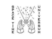Space time universum humanity exploration black on white backgro Stock Photography