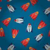 Space toy rocket. Abstract seamless vector pattern stock illustration
