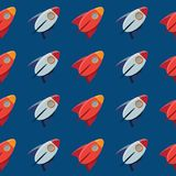 Space toy rocket. Vector pattern. Royalty Free Stock Photo