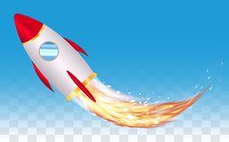 Space toy rocket vector with real rocket  fire. A space toy rocket vector with real rocket  fire Royalty Free Stock Photo