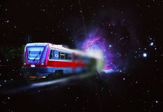 Space train, satellite and Orion nebula. stock image