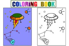 Space transport, aliens in the sky. Constellation and comet vector. Cartoon children coloring, color, black and white. Space transport, aliens in the sky Stock Photo