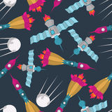 Space transport seamless pattern. Spaceship rocket and satellite Royalty Free Stock Image