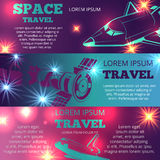 Space travel banners template with shuttle. Space travel horizontal banners template with shuttle and intenational space station. Vector illustration vector illustration