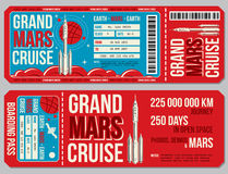 Space travel boarding pass vector template. Journey to Mars tickets. Mock up colored ticket for passenger to travel mars, illustration vector illustration