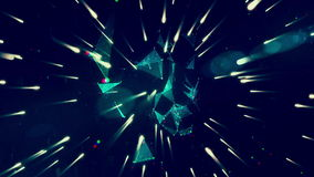 Space travel with geometry and lights stock footage