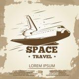 Space travel grunge vintage banner design. Space grunge banner, vector illustration royalty free illustration