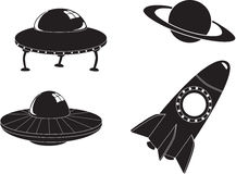 Space travel icons stock photo