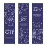 Space travel line banner. Set of elements of planets, space ships, ufo, satellite, spyglass and other cosmos pictograms. Stock Image